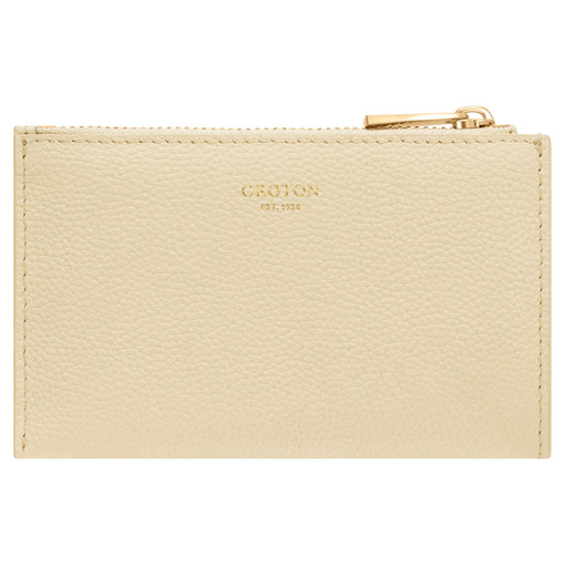 Oroton Ember 4 Credit Card Zip Pouch in Pale Blonde and Pebble Leather for female