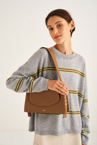 Oroton Ember Day Bag in Peat and Pebble Leather for female