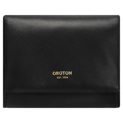 Oroton Heath Small Wallet in Black and Smooth Leather for female