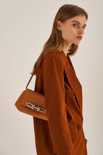 Oroton Tilda Small Day Bag in Maple and Pebble Leather for female