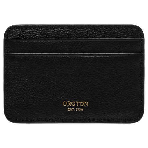 Oroton Tilda Card Holder in Black and Pebble Leather for female