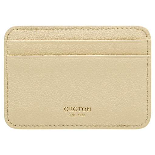 Oroton Tilda Card Holder in Pale Blonde and Pebble Leather for female