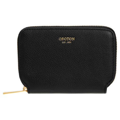 Oroton Tilda 7 Credit Card Zip Wallet in Black and Pebble Leather for female