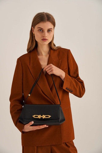 Oroton Tilda Day Bag in Black and Pebble Leather for female