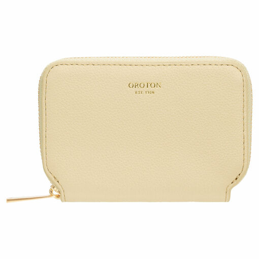 Oroton Tilda 7 Credit Card Zip Wallet in Pale Blonde and Pebble Leather for female