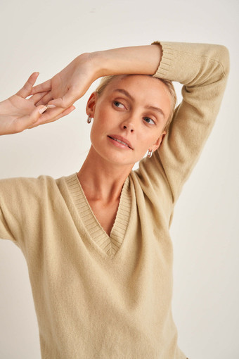 Oroton V-Neck Knit in Sandstone and 100% Wool for female