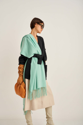 Oroton Fringe Wool Scarf in Mint and 100% Lambswool for female