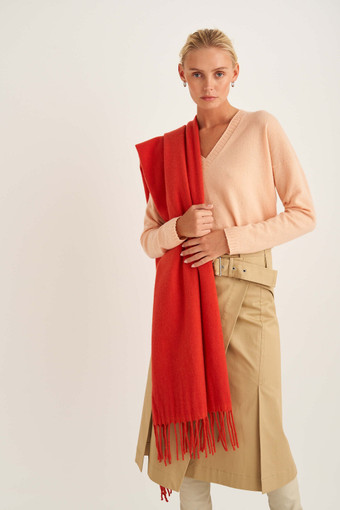 Oroton Fringe Wool Scarf in Soft Rouge and 100% Lambswool for female