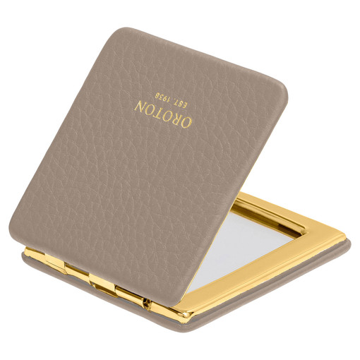 Oroton Lucy Square Mirror Compact in Stone and Pebble Leather for female