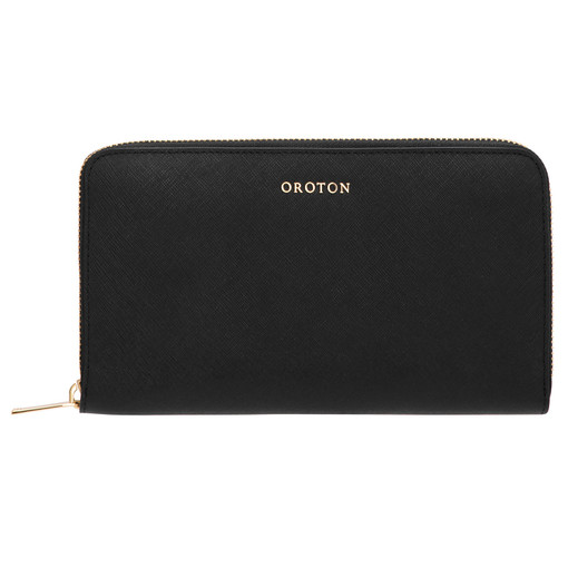 Oroton Maison Large Zip Around Wallet in Black and Saffiano Leather for female