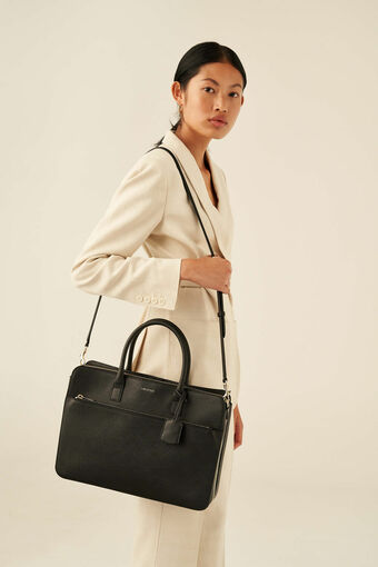 """Oroton Maison 15"""" Worker Tote in Black and Saffiano Leather for female"""