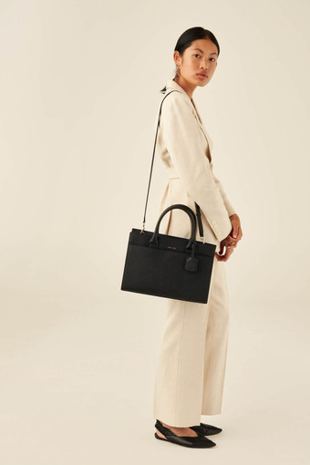 Oroton Maison City Tote in Black and Saffiano Leather for female