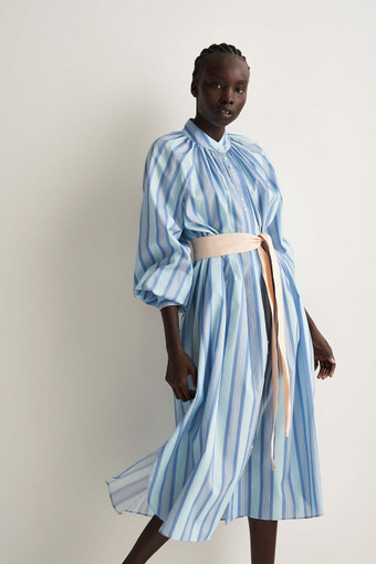 Oroton Faded Stripe Dress in Lagoon and 100% Cotton for female