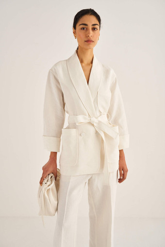 Oroton Robe Jacket in Eggshell and 100% Linen for female
