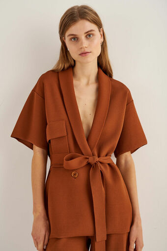 Oroton Short Sleeve Knit Jacket in Cognac and 86% Viscose 17% Polyester for female