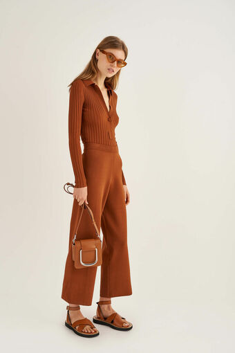 Oroton Knit Pant in Cognac and 86% Viscose 17% Polyester for female