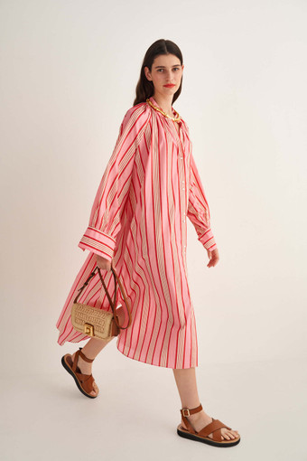 Oroton Candy Stripe Dress in Lipstick and 100% Cotton for female