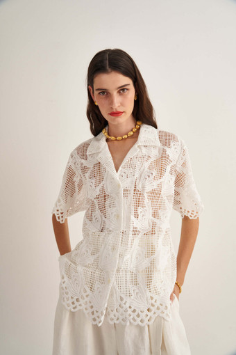 Oroton Lace Camp Shirt in White and 100% Polyester for female