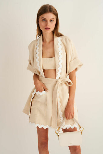 Oroton Ric Rac Robe in Ecru and 100% Linen for female
