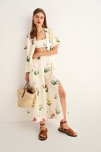 Oroton Poppy Print Skirt in Clotted Cream and 100% Silk for female