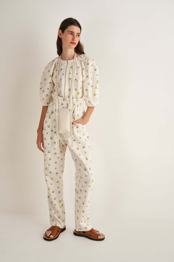 Oroton Mini Thistle Pant in Soft Cream and 100% Linen for female