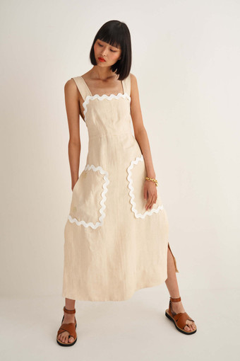 Oroton Ric Rac Dress in Ecru and 100% Linen for female