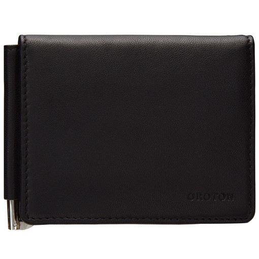 Oroton Coda Mini Clip Wallet in Black and Smooth Leather for male