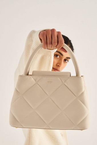 Oroton Muse Quilting Small Day Bag in Ecru and Smooth Leather for female