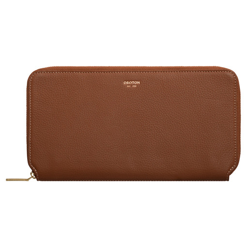 Oroton Margot Travel Wallet in Whiskey and Pebble Leather for female