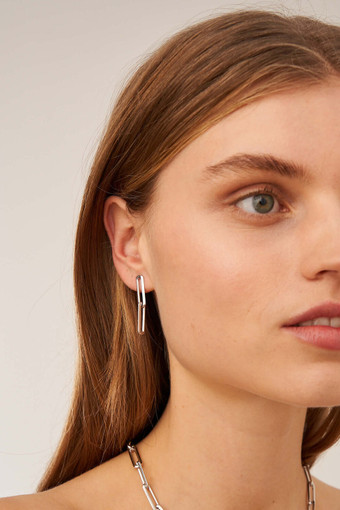 Oroton Lacey Link Earrings in Silver and Brass Based Metal With Precious Metal Plating for female