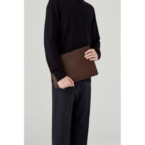"""Oroton Rhodes 13"""" Laptop Sleeve in Espresso and Casual Full Grain Leather for male"""