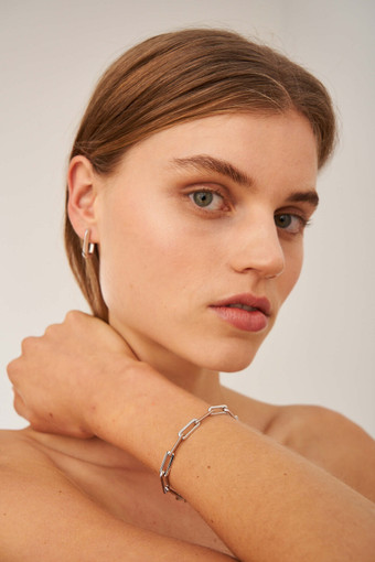 Oroton Lacey Medium Hoops in Silver and Brass Based Metal With Precious Metal Plating for female