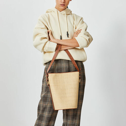 Oroton Arena Large Bucket Bag in Natural and Raffia/Full Grain Leather for female