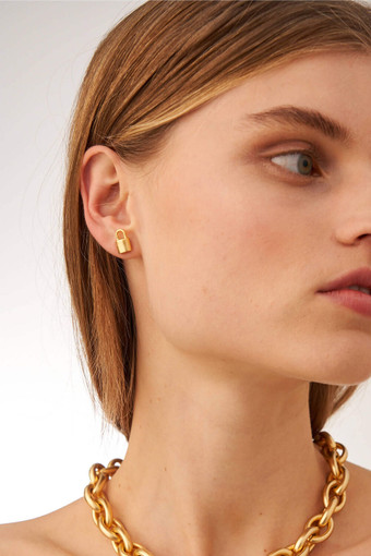 Oroton Evie Studs in Worn Gold and Brass Based Metal With Precious Metal Plating for female