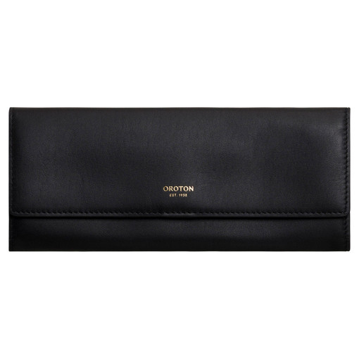 Oroton Venture Jewellery Roll in Black and Smooth Leather for female