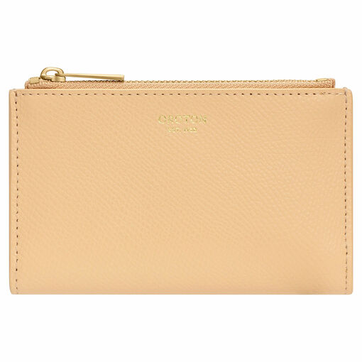 Oroton Muse 10 Credit Card Double Zip Wallet in Mango and Saffiano / Smooth Leather for female
