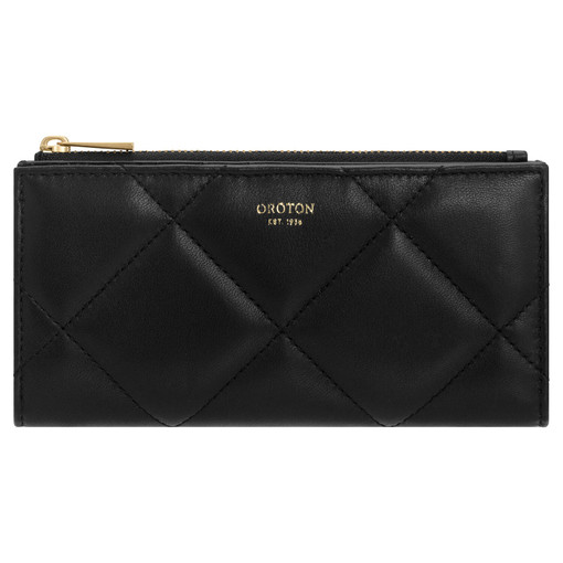 Oroton Muse Quilting Zip Fold Wallet in Black and Smooth Leather for female