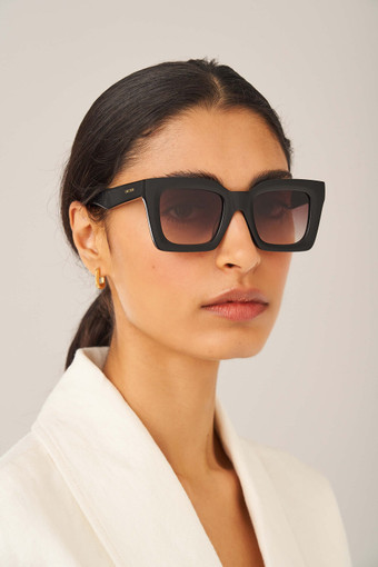 Oroton Reese Sunglasses in Black and Acetate for female