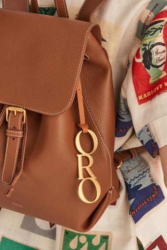 Oroton Logo Oro Bag Charm in Brass/Brandy and Smooth Leather / Brass With Plating for female