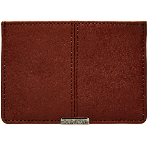 Oroton Austere Credit Card Sleeve in Chocolate and Calf Leather for male