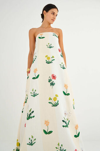 Oroton Poppy Print Gown in Soft Cream and 100% Linen for female