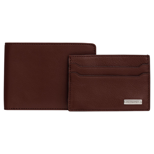 Oroton Otto 12 Credit Card Wallet And Credit Card Sleeve in Chocolate and Vegan Leather for male