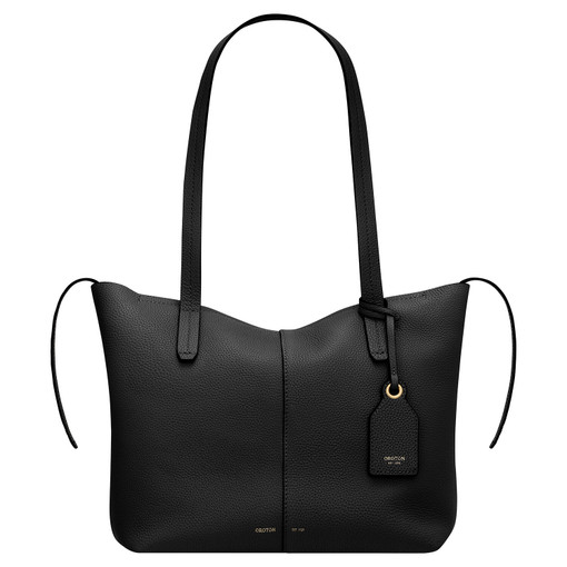Oroton Lilly Small Shopper Tote in Black and Pebble Leather for female