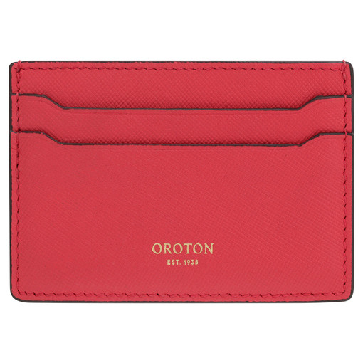 Oroton Inez Credit Card Sleeve in Cherry and Saffiano for female