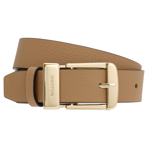 Oroton Anna Jeans Belt in Dark Biscotti and Pebble Leather for female