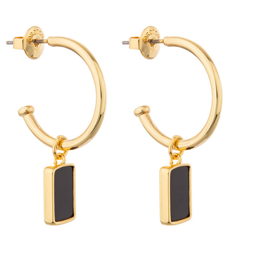 Oroton Brea Hoop in Gold/Black and Brass Base Metal With Precious Metal Plating/Semi Precious Stone for female