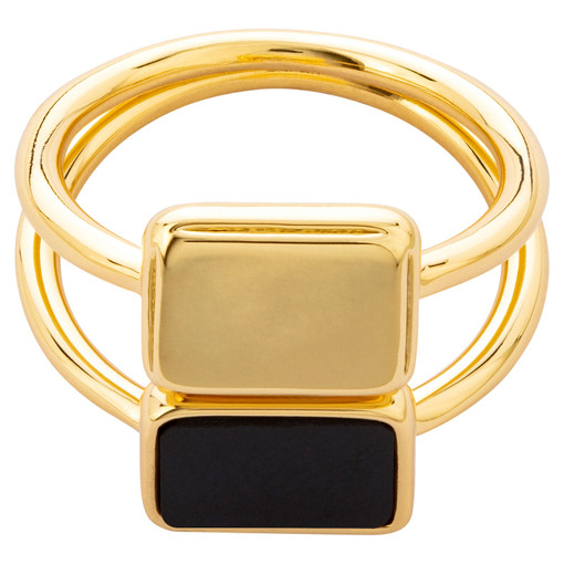Oroton Brea Ring Stack in Gold/Black and Brass Base Metal With Precious Metal Plating/Semi Precious Stone for female