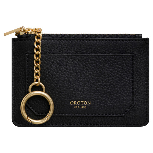 Oroton Duo Mini Chain Pouch in Black and Pebble Leather for female