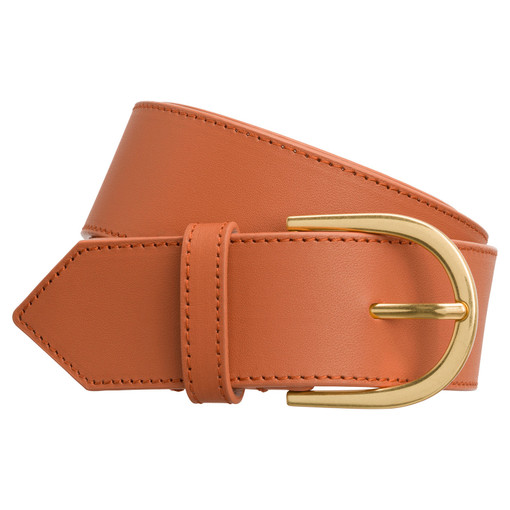 Oroton Solo Wide Belt in Clay and Smooth Leather for female