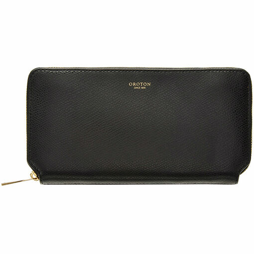 Oroton Muse Medium Zip Wallet in Black and Two Tone Saffiano Leather / Soft Nappa Leather for female